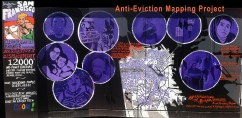 A mural from the Anti-Eviction Mapping Project The mural depicts a rendering of the online map of no-fault evictions since 1997 and highlights the portraits of eight San Franciscans fighting their evictions.