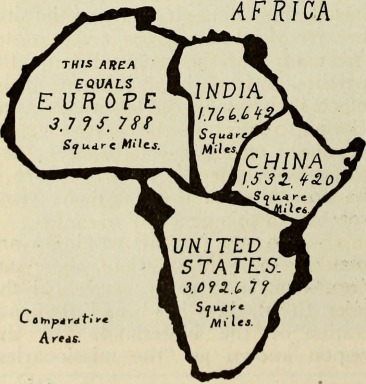 A comparative area map which illustrates the tremendous size of Africa, relative to other countries and continents. Africa's size is often distorted in world maps.
