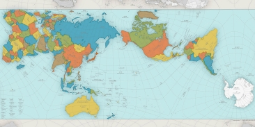 This map was created with the AuthaGraph projection, an innovative way to create a more accurate map that largely preserves the relative area of landmasses and oceans, limits the distortion of their shapes, and avoids cutting continents in half. AuthaGraph maps can also be reconfigured to make any point on the globe the center of the map.