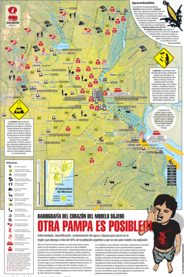 A community mapping project illustrating sources of water pollution (causing illness, and desertification of the land) in Argentina