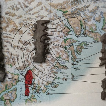 These Inuit wooden maps are made out of wood, and can be carried by hand (they are small enough to fit in a mitten) while navigating the coastal waters.