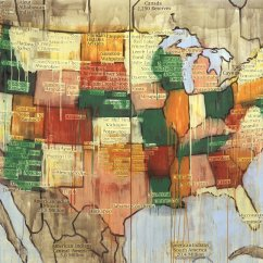 Jaune Quick-to-See Smith, created this tribal map of America. Smith is of French-Cree, Shoshone, and Salish decent.